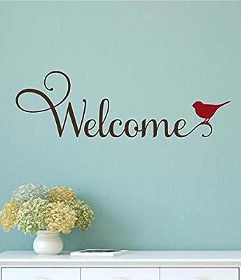 Enchantingly Elegant Welcome Bird Vinyl Decal Wall Decor Stickers Words Lettering Door Sticker 28x9