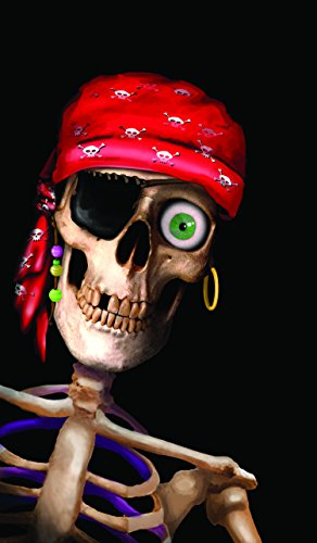 WOWindow Posters Peppy the Pirate Skull Halloween Window Decoration 34.5