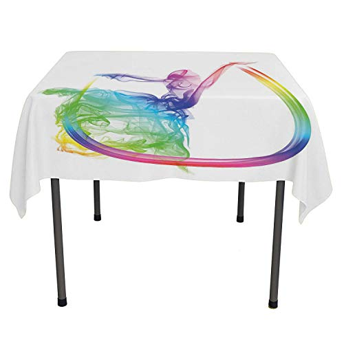 Abstract Home Decor Tablecloth for Party Smoke Dance Shape Silhouette of Dancer Ballerina Rainbow Colors Fantasy Multicolored Table Cloth Spring/Summer/Party/Picnic 54 by 54 -