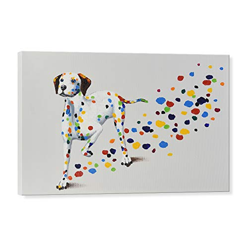 - 7CANVAS - Hand Painted Dog Wall Art Oil Painting Wall Decor Cute Animal Wall Picture for Bedroom Kids Room Living Room Gifts (Dalmatian, 36 x 24 Inch)