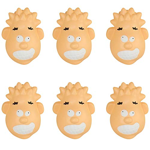 (Closeoutservices Lot of 6 - Stress Faced Head Shaped Stress Relief Toy, Squeezable Foam.)