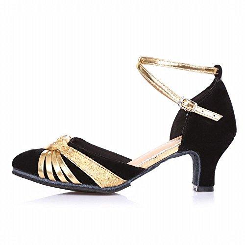 Modern Tobillo Samba Onecolor Baile Tirantes de Baile de de Transpirable Oro Zapatos Zapatos Latino Cuero Jazz Adulto Sandalias Baile BYLE Negro de Zapatos wqtYII