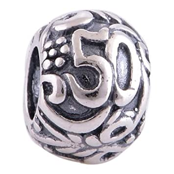 aff7cc21f Sterling Silver 925 50th Birthday Anniversary Antique Silver Charm Bead  fits Pandora Biagi Chamilia Bracelets: Amazon.co.uk: Baby