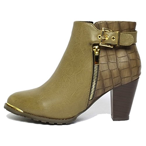 Epicsnob Womens Khaki Side Zip Buckle Fashion Ankle Boots Bootie 6 M US