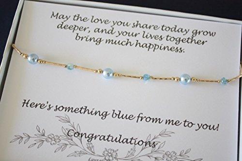 Gold Something Blue Bride Gift Anklet Blue Pearl Anklet Wedding ()