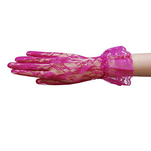 ZaZa Bridal Flower Pattern Women's Lace Gloves with Ruffle Wrist Length-Fuchsia