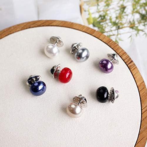 Aisoway 10pcsS Imitazione Perla delle Donne Spilla Cerchio Multiuso PU Spille Bottone Zircone Colorato per Le Signore Colori Casuali