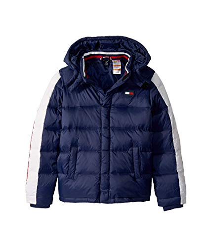 Tommy Hilfiger Boys' Adaptive Down Puffer Jacket with Magnetic Buttons, Peacoat, M (Jacket For Boys Tommy Hilfiger)