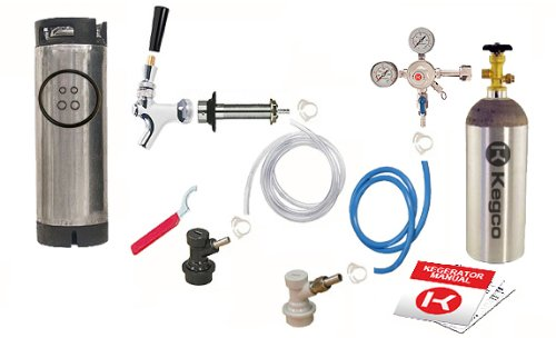 Kegco One Keg Door Mount Homebrew Kegerator Kit Ball Lock w/ Tank - SHCKBALLKEG-5T Aluminum Standard Couplers