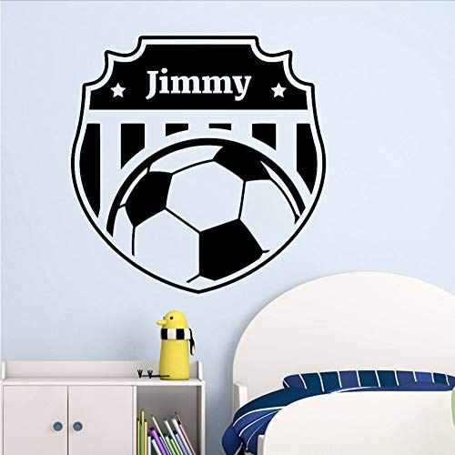 Smydp Soccer Wall Decal Personalized Vinyl Sticker Football Mural Bedroom Decor Girl Boys Room Wall Stickers for Kids 57X57Cm