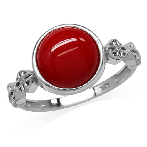 Celtic Knot Flower Ring (Created Red Coral White Gold Plated 925 Sterling Silver Flower Celtic Knot Ring Size 8)