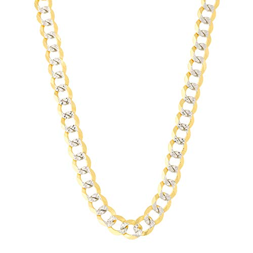 14k Yellow and White Gold Two Tone 4.6mm Diamond Cut Curb Chain Bracelet, 8.5