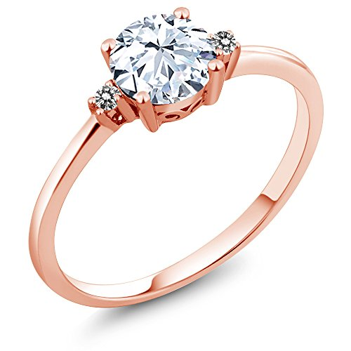Gem Stone King 10K Rose Gold Engagement Solitaire Ring set with 1.23 Ct White Created Sapphire and White Diamonds (Size 9)