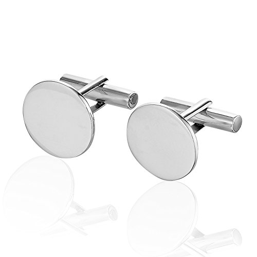 925 Sterling Silver Brushed Matte Finish Round Cuff Links Set of Two (2), Men's Circle ()