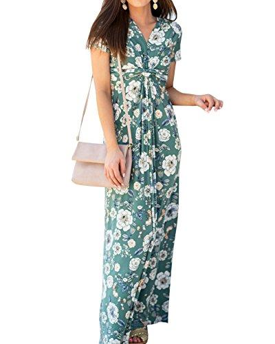 Women's Floral Maxi Dress V Neck Short Sleeve Twist Knot Long Dresses - Front Dress Twist Maxi