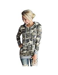 Susenstone Womens Camouflage Printing Pocket Hoodie Sweatshirt Hooded Tops Blouse