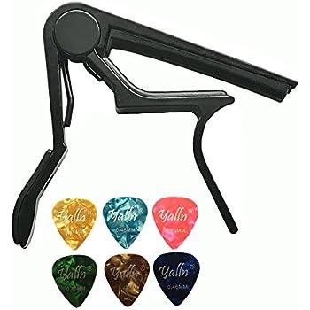 Guitar Picks Guitar Capo Acoustic Guitar Accessories Trigger Capo Key Clamp Black With 6 Pcs Guitar Picks