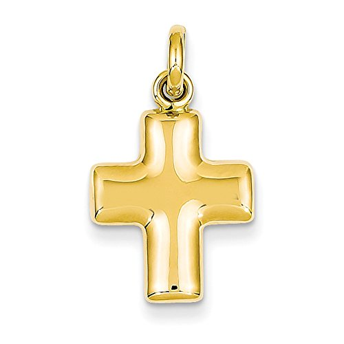Lex & Lu 14k Yellow Gold Puffed Cross Charm ()