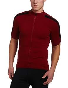 Ibex Outdoor Clothing Men's Giro FZ Short Sleeve Jersey, Tri-Red, Medium