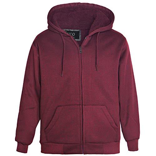 Erin Garments Mens Zip Front Hoodie Oversized Heavyheight Sherpa Lined Sweatshirt Black Grey Long Sleeve Jacket (3X-Large, Wine) -