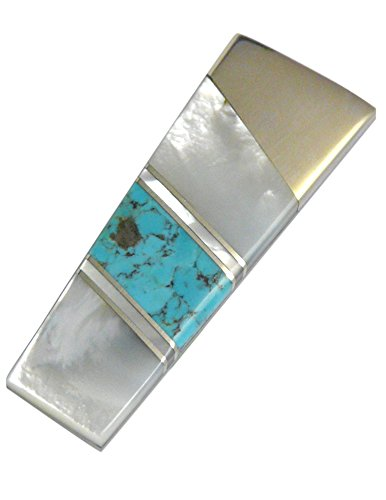 Mother of Pearl and Turquoise Gemstone Steel Money Clip