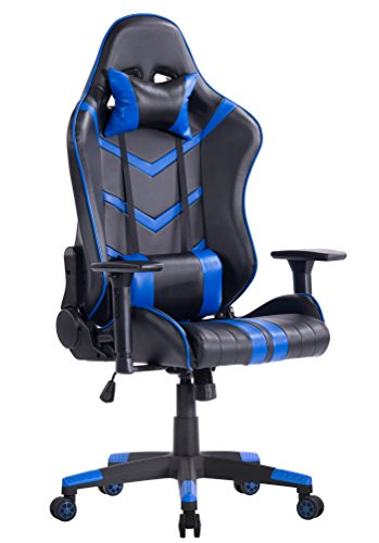 KILLABEE Racing Style Gaming Chair - Big & Tall 400lb Multifunctional High-Back Leather E-Sports Computer Chair Ergonomic Executive Office Chair with Adjustable Headrest Lumbar Support (Blue&Black) by KILLABEE