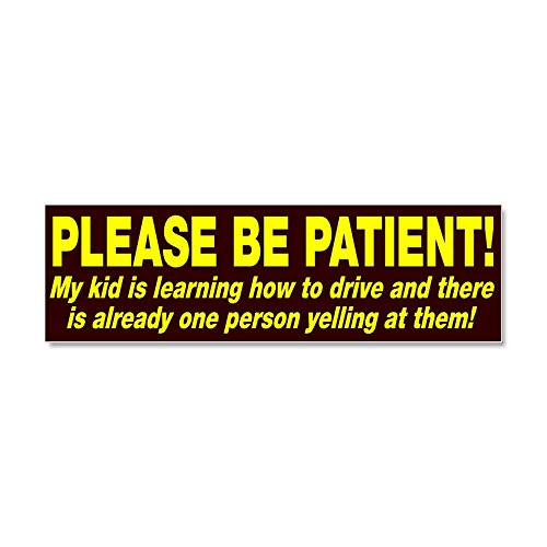 (CafePress - Be Patient Kid Driver - Car Magnet 10 x 3, Magnetic Bumper Sticker)