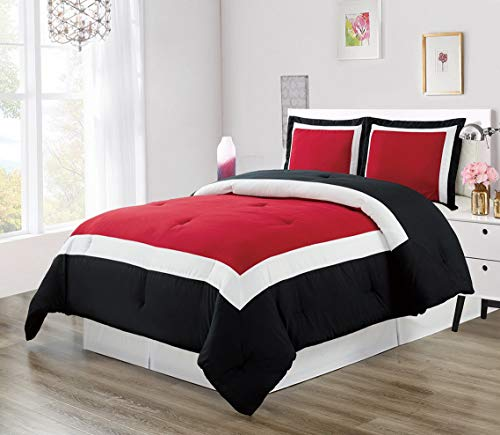Hemau Premium New Soft 3 Piece Burgundy RED/Black/White Goose Down Alternative Color Block Comforter Set, (Double) Full Size Microfiber Bedding, Includes 1 Comforter and 2 Sha | Style 503194453 ()