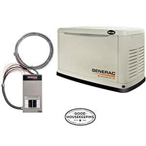 Generac Guardian Series 5870 8,000 Watt Air-Cooled Liquid Propane/Natural Gas Powered Standby Generator With Transfer Switch (CARB Compliant)