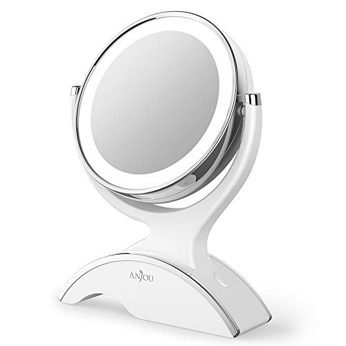 Makeup Mirror LED Lighted with 1X 7X Magnification, Anjou Vanity Mirror Battery-Powered, Removable, Double Side, 360 Rotation for Countertop Cosmetic Makeup, White
