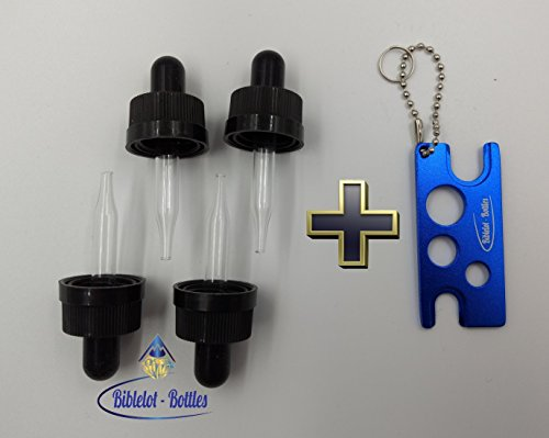 5ml Glass Eye Droppers (4),Oil Dropper Compatible with 5ML doTerra Essential Oil Bottles, Child Resistant Caps, (1) Key Chain Tool (Blue, 4)