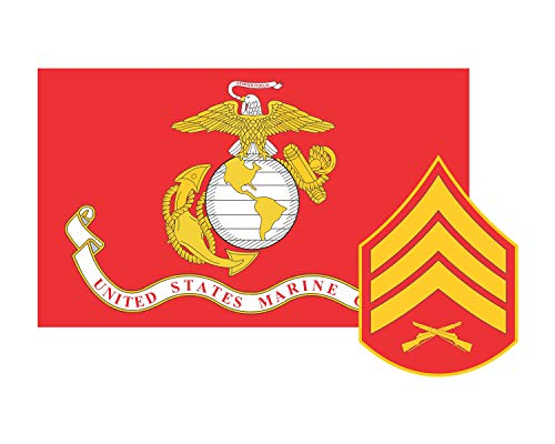 Rank Vinyl Sticker - Marine Corps Flag USMC w/SGT Rank Sergeant Vinyl Decal Sticker Cars Trucks Laptops etc.3.22x5 (Red) (Full Color)