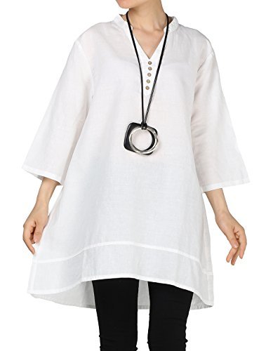 Mordenmiss Women's V-Neck Linen Blouse High Low Tunic Tops M White