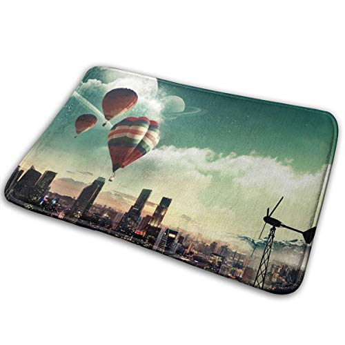 FTRGRAFE Hot Air Balloon Up City Home Door Mat Super Absorbent Antislip Front Floor Mat,Soft Coral Memory Foam Carpet Bathroom Rubber Entrance Rugs for Indoor Outdoor for $<!--$7.99-->