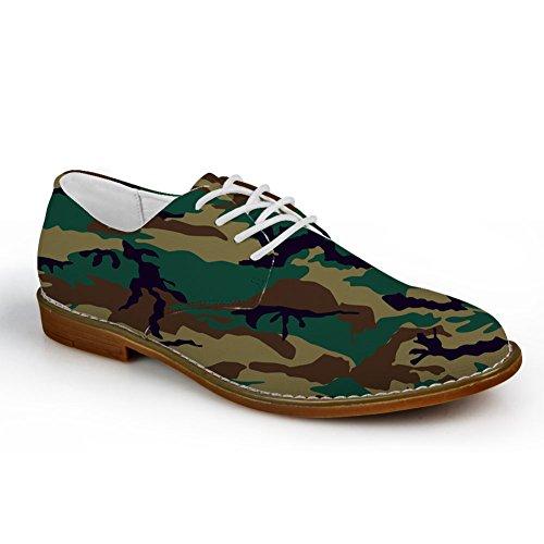 HUGS IDEA Mens Classic Camouflage Oxford Lace Up Flats Shoes Camouflage 4 Xt1M2fuc