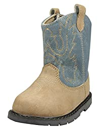 Tan Infant and Toddler Unisex Cowboy Western Boots with Denim Jean Accents by Baby Deer