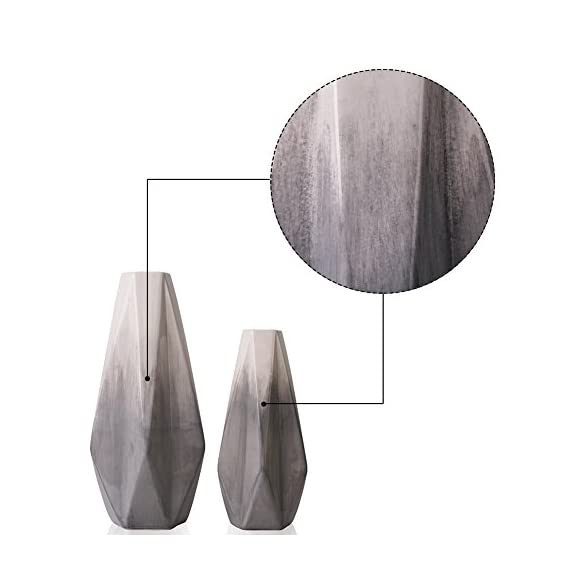TERESA'S COLLECTIONS Ceramic Flower Vase, Modern Home Decor, Set of 2 Grey and White Geometric Decorative Vases for Table, Living Room, Kitchen, Centerpieces, Office, Wedding Decoration - Design: The ceramic vase set made of high quality pottery by handmade. Set of 2 vases feature with Grey colored glaze and geometric style are not only common vases for flowers, but also beautiful handicrafts USE: Filled with artificial flowers, floral or greenery additions for a stunning display that instantly brightens up bedrooms, lounges and offices. Also an ideal gift to your family, friends or lovers who likes to decor accents around the house SIZE: Measure around 3.15*11.02*2.17 inch (large) and 2.56*8.66*1.77 inch (small) - vases, kitchen-dining-room-decor, kitchen-dining-room - 41POviEyXwL. SS570  -
