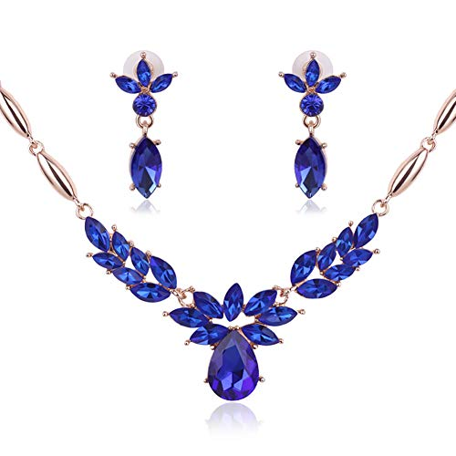 (HIIXHC Bridal Austrian Crystal Necklace and Earrings Jewelry Set Gifts fit with Wedding Dress, Bridesmaids or Mother of Bride (Blue))