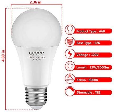 GEZEE 12Watt 80-100W Equivalent 3-Pack 6000K A19 Dimmable LED Light Bulb,1000 Lumens Daylight White E26 Base,UL-Listed