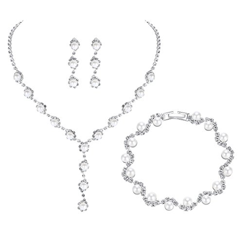 (mecresh Bridal Women Pearl Crystal Jewelry Sets for Wedding - (1 Set Earrings,1 PCS Necklace, 1PCS Bracelet))