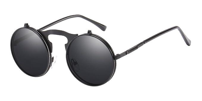d83054e65a BOZEVON Metal Retro Steampunk Estilo Círculo Gafas de sol Voltear Ronda  Lente para Hombres y Mujeres Negro: Amazon.es: Ropa y accesorios