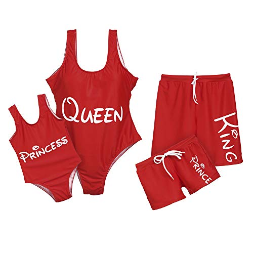 Mommy and Me Bathing Suits Matching Family Outfits Swimwear Red One Piece Swimsuits - Red,Women,L