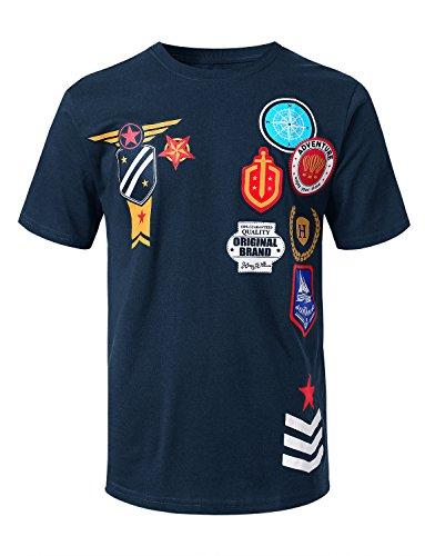 (URBANCREWS Mens Hipster Hip Hop Patch Graphic Print T-Shirt Navy, M)
