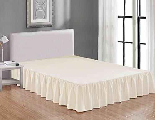 Queen Gathered Skirt - Sheets & Beyond Wrap Around Solid Luxury Hotel Quality Fabric Bedroom Dust Ruffle Wrinkle and Fade Resistant Gathered Bed Skirt 14 Inch Drop (Queen, Beige)