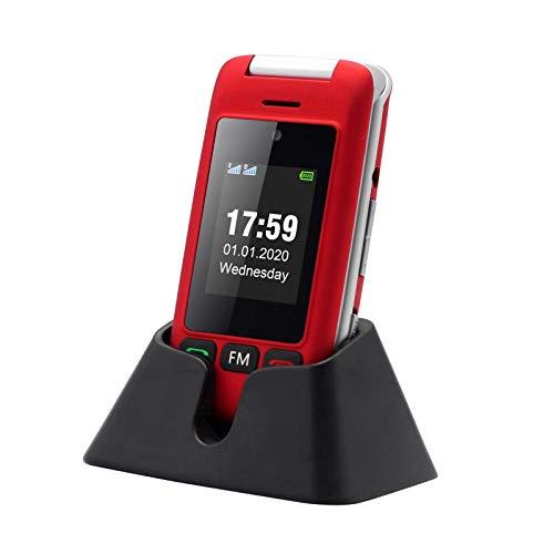 🥇 artfone Flip Teléfono Móvil para Personas Mayores con Teclas Grandes con Pantalla de 2.4 Pulgadas   Fácil de Usar para Ancianos   MMS   SOS Botón   Cámara – Rojo
