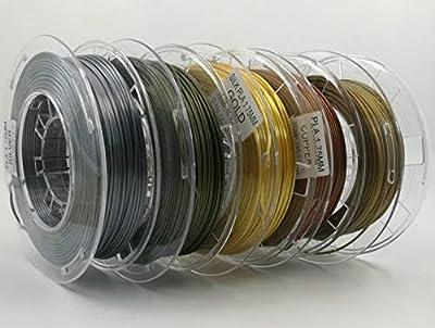 Stronghero3D 1.75mm PLA 3D Printer Filament Gold Silver Copper Bronze Brass Each 200gram Bundle Pack Spool - Dimensional Accuracy +/- 0.05mm