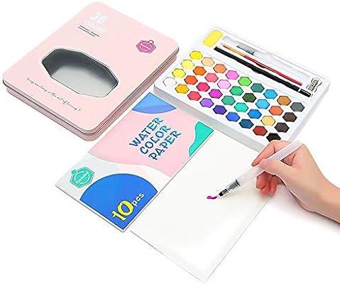 Juego de pintura acuarela portátil en caja de acuarela con 36 colores + 10 papeles +
