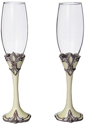 Decorative Fleur De Lis Wedding Toasting Flutes