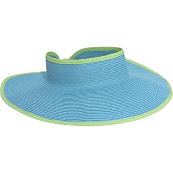 San Diego Hat Company Women's Ultrabraid Visor With Ribbon Binding, and Sweatband, aqua lime, One Size