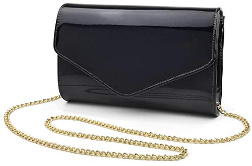 ing Clutch Faux Patent Leather Women Chain Shoulder Bag Solid Color Purse (Black) ()